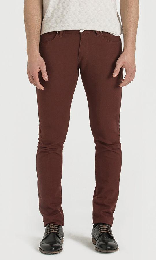 Hatem Saykı - Bordo Desenli Slim Fit Pantolon