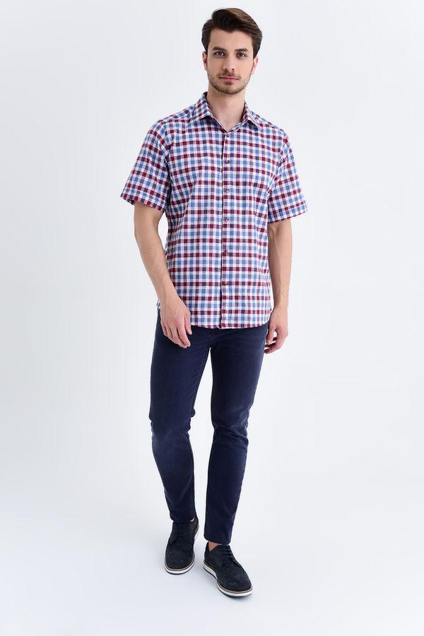 HATEMOĞLU - Bordo Kareli Slim Fit Gömlek (1)