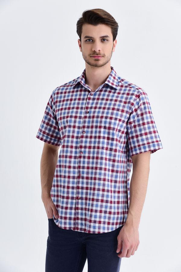 HATEMOĞLU - Bordo Kareli Slim Fit Gömlek