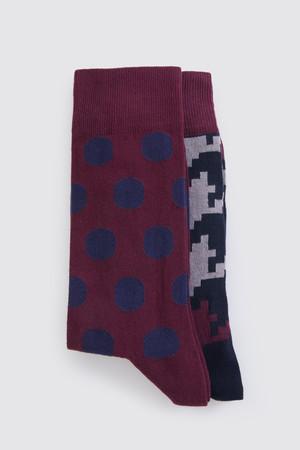Hatem Saykı - Bordo - Lacivert 2'li Çorap