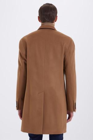 Camel Ceket Yaka Yünlü Palto - Thumbnail