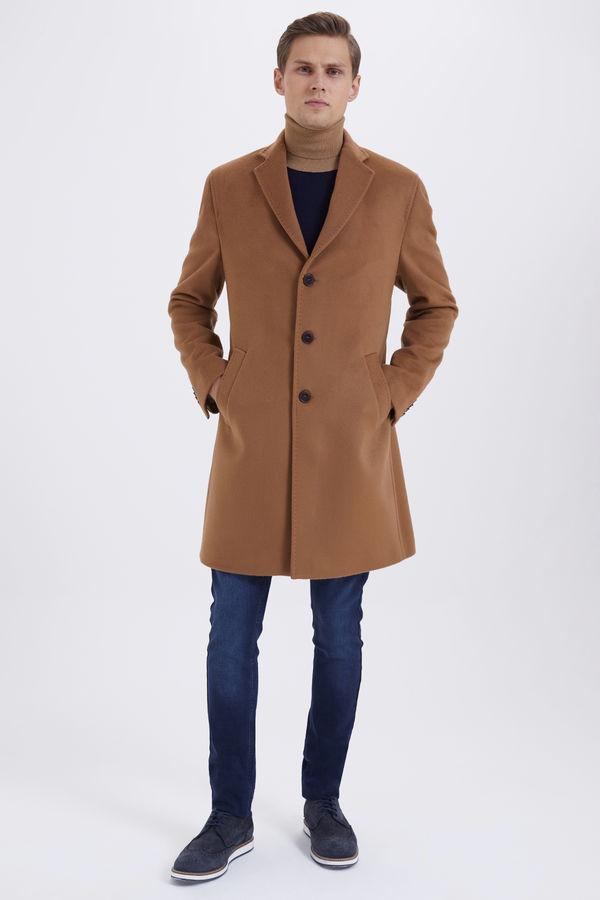 Camel Ceket Yaka Yünlü Palto