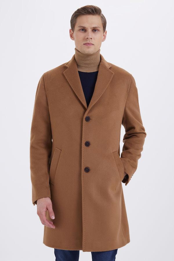 Hatem Saykı - Camel Ceket Yaka Yünlü Palto