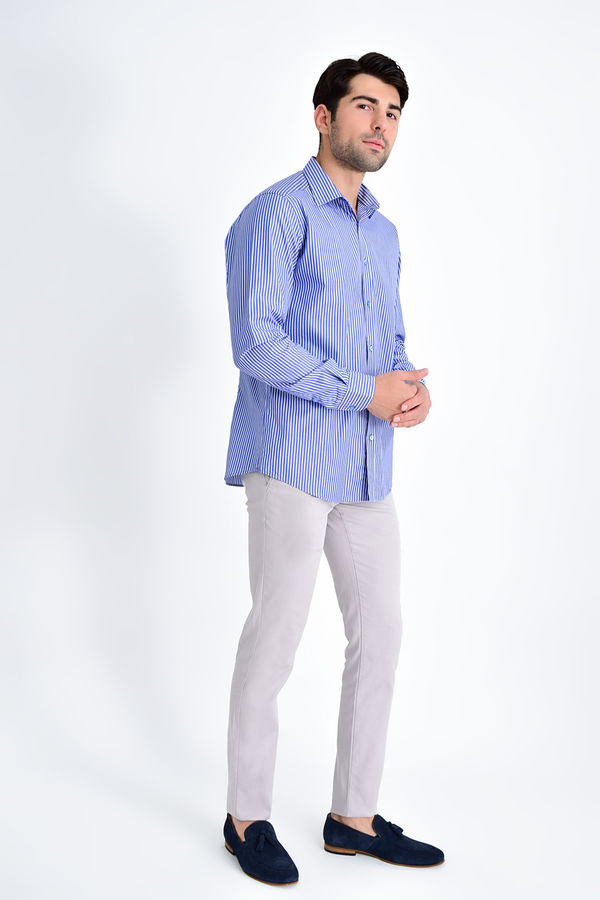Hatem Saykı - Çizgili Regular Lacivert Gömlek (1)
