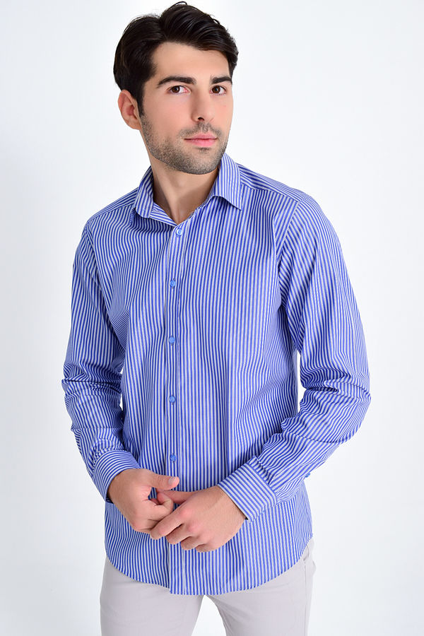 Hatem Saykı - Çizgili Regular Lacivert Gömlek