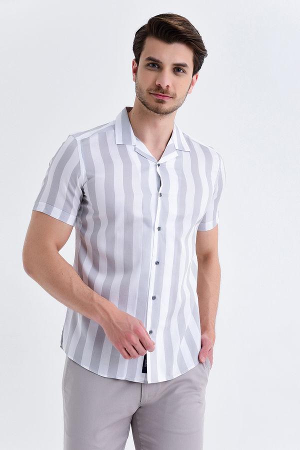 Hatem Saykı - Çizgili Slim Fit Gri Gömlek