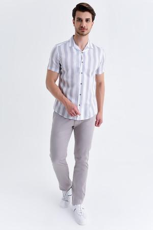 Hatem Saykı - Çizgili Slim Fit Gri Gömlek (1)