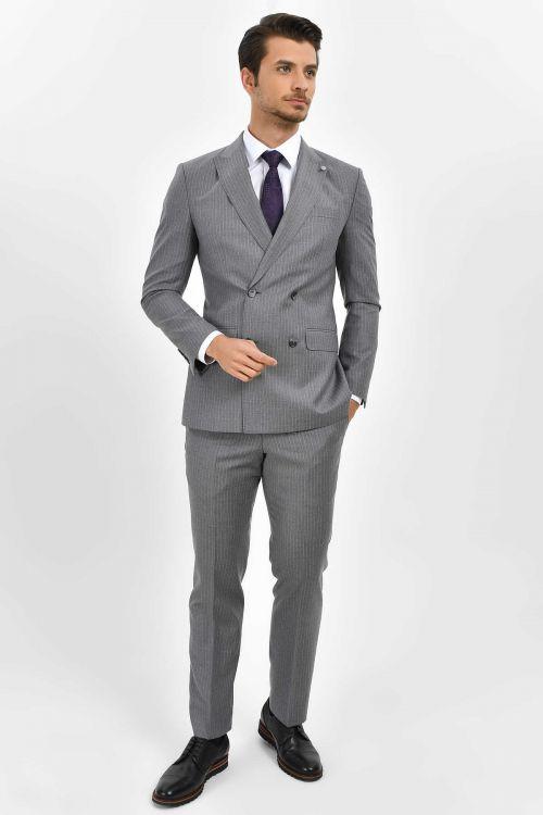 Hatem Saykı - Çizgili Slim Fit Gri Takım Elbise