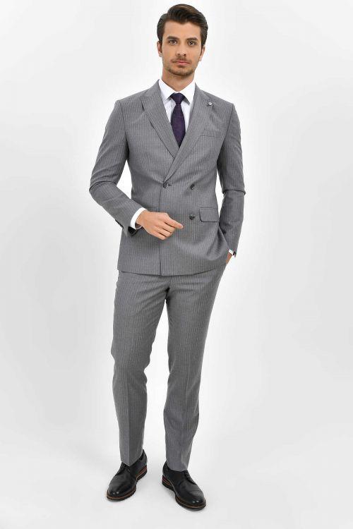 Hatem Saykı - Çizgili Slim Fit Gri Takım Elbise (1)