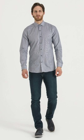 Hatem Saykı - Çizgili Slim Fit Lacivert Gömlek (1)