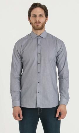 Hatem Saykı - Çizgili Slim Fit Lacivert Gömlek