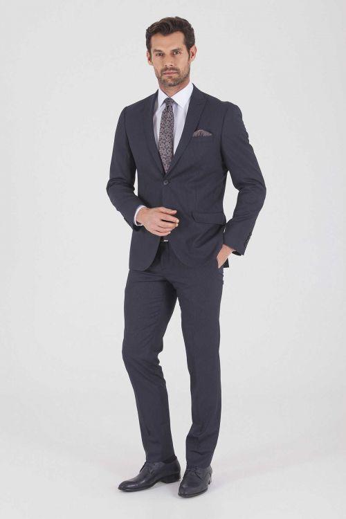 HTML - Çizgili Slim Fit Lacivert Takım Elbise