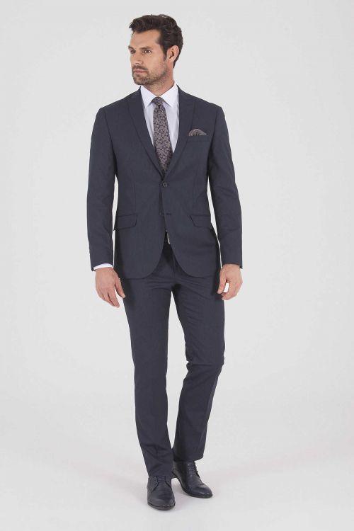 HTML - Çizgili Slim Fit Lacivert Takım Elbise (1)