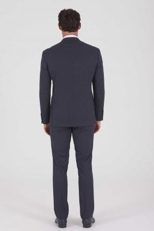 Çizgili Slim Fit Lacivert Takım Elbise - Thumbnail