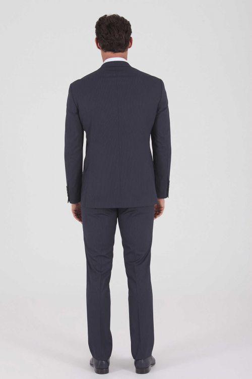 Çizgili Slim Fit Lacivert Takım Elbise