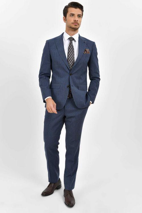 Hatem Saykı - Çizgili Slim Fit Lacivert Takım Elbise (1)