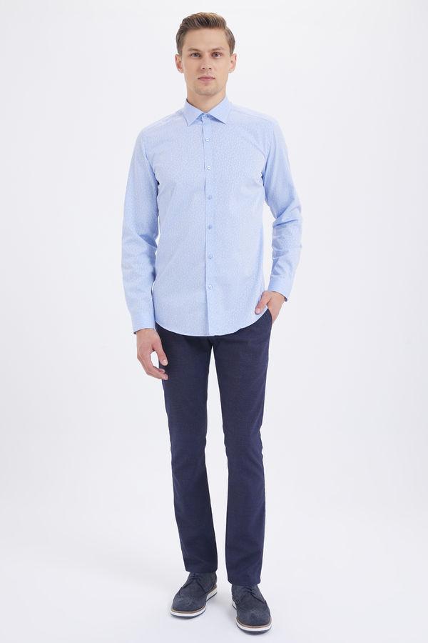 Hatem Saykı - Çizgili Slim Fit Mavi Gömlek (1)