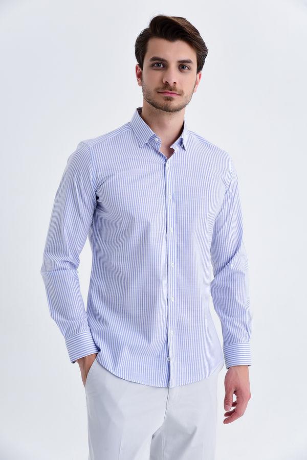 Hatem Saykı - Çizgili Slim Fit Mavi Gömlek