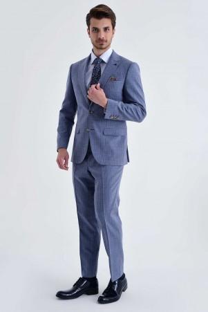Hatem Saykı - Çizgili Slim Fit Mavi Takım Elbise (1)