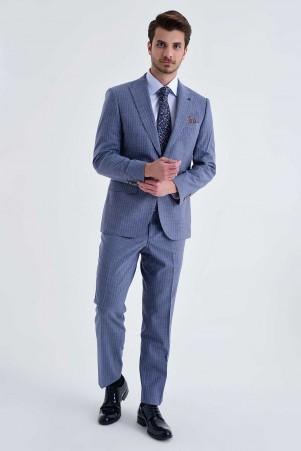 Hatem Saykı - Çizgili Slim Fit Mavi Takım Elbise