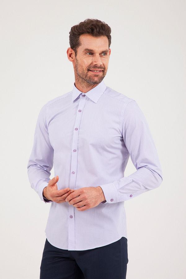 Hatem Saykı - Çizgili Slim Fit Mor Gömlek