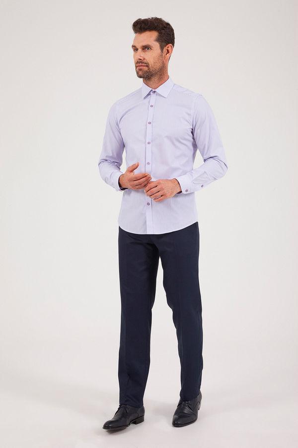 Hatem Saykı - Çizgili Slim Fit Mor Gömlek (1)