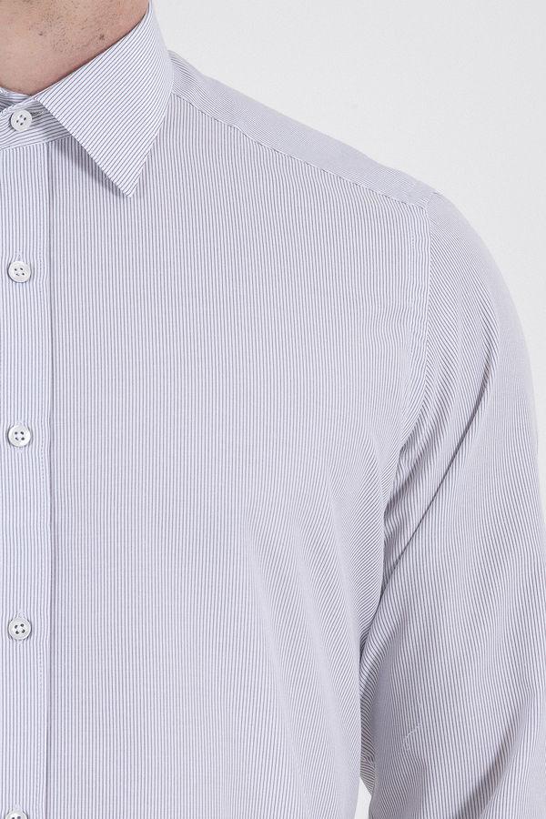 Siyah Çizgili Slim Fit Gömlek