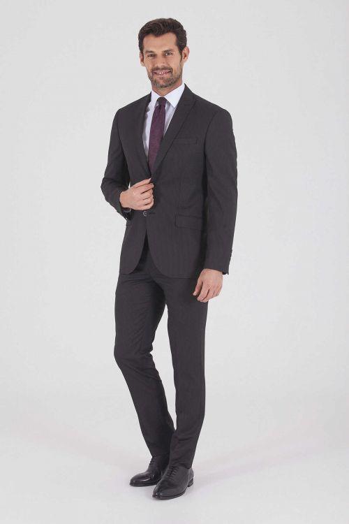HTML - Siyah Çizgili Slim Fit Takım Elbise