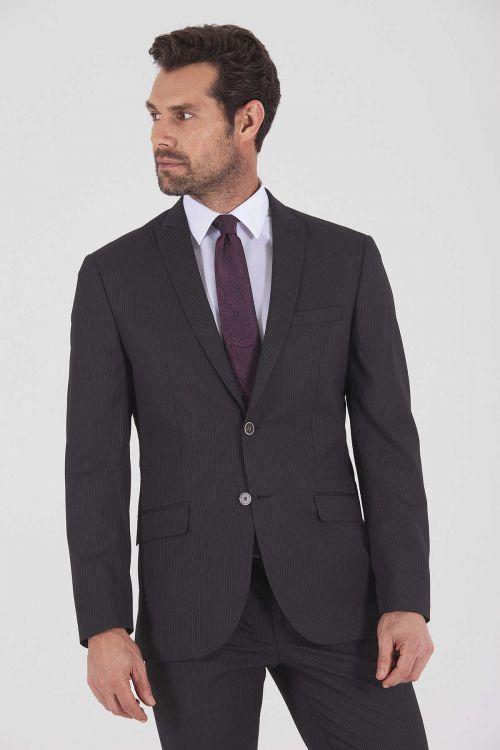 Çizgili Slim Fit SiyahTakım Elbise