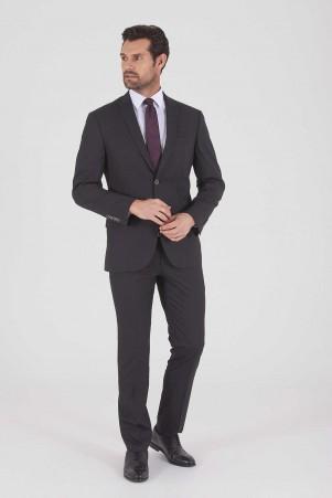 HTML - Siyah Çizgili Slim Fit Takım Elbise (1)