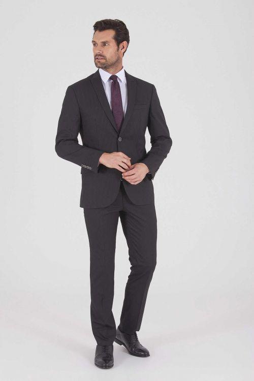 HTML - Çizgili Slim Fit SiyahTakım Elbise (1)