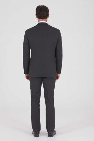 Çizgili Slim Fit SiyahTakım Elbise - Thumbnail