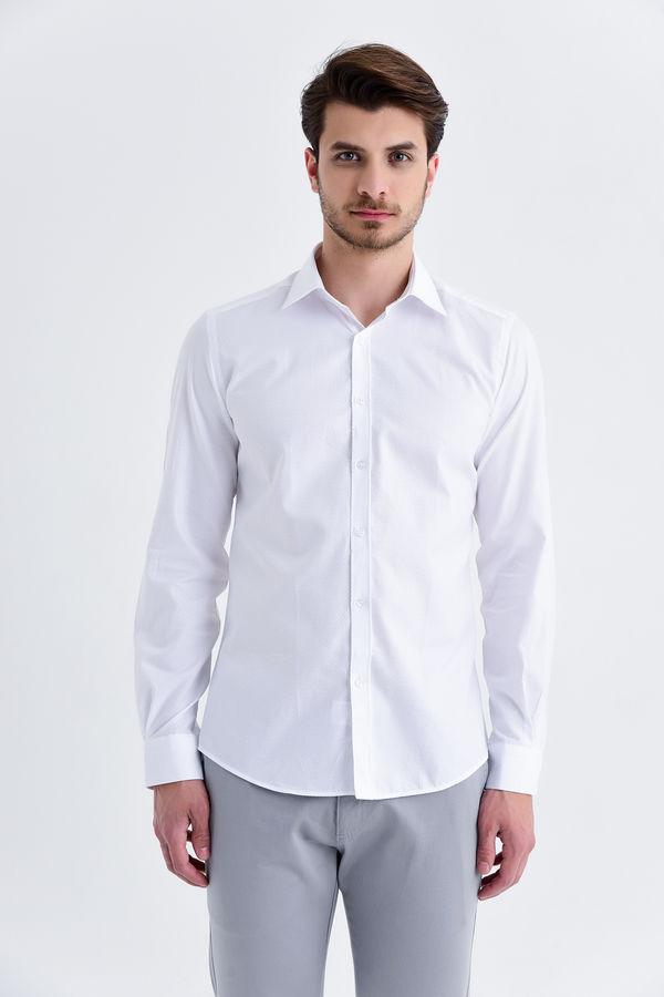 Hatemoğlu - Desenli Beyaz Slim Fit Gömlek