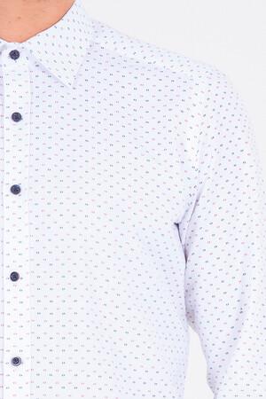 Desenli Bordo Slim Fit Gömlek - Thumbnail