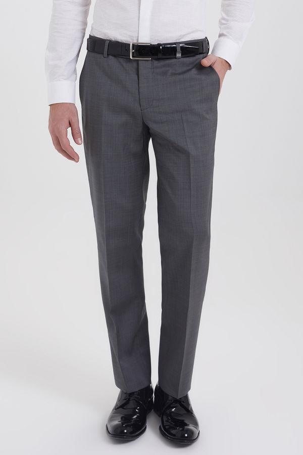 Hatem Saykı - Gri Desenli Slim Fit %100 Yün Kumaş Pantolon