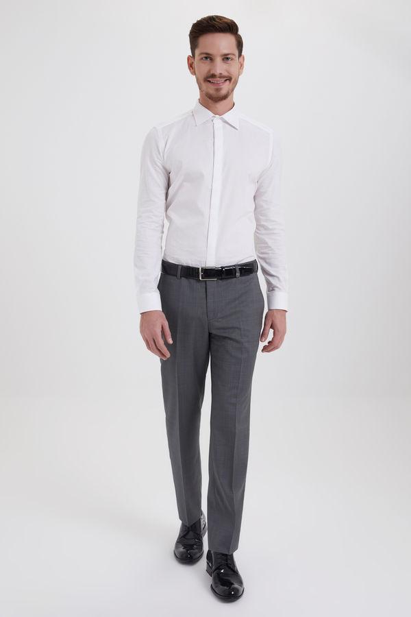 Hatem Saykı - Gri Desenli Slim Fit %100 Yün Kumaş Pantolon (1)
