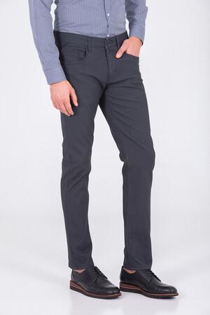Desenli Gri Regular Pantolon - Thumbnail