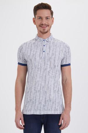 HTML - Beyaz Lacivert Desenli Polo Yaka Tişört