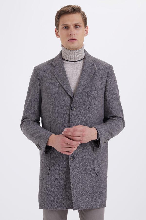 Hatem Saykı - Desenli Kahverengi Palto