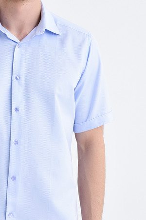 Desenli Kısa Kol Mavi Gömlek - Thumbnail