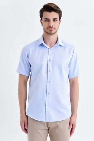 Hatemoğlu - Desenli Kısa Kol Mavi Gömlek