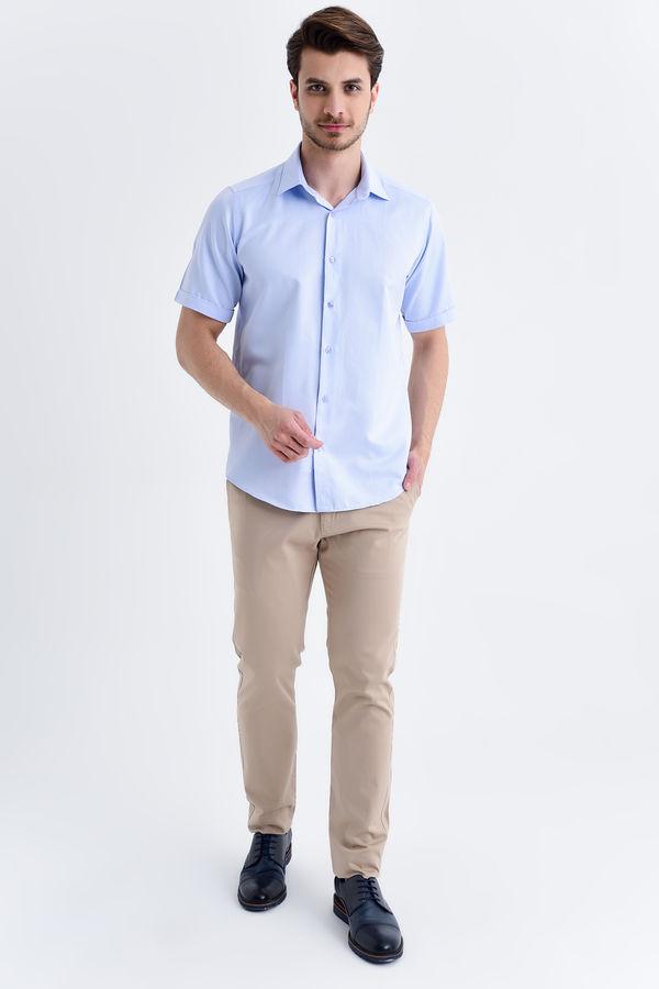 Desenli Kısa Kol Mavi Gömlek