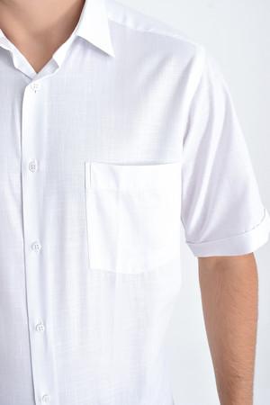 Kısa Kol Beyaz Desenli Gömlek - Thumbnail