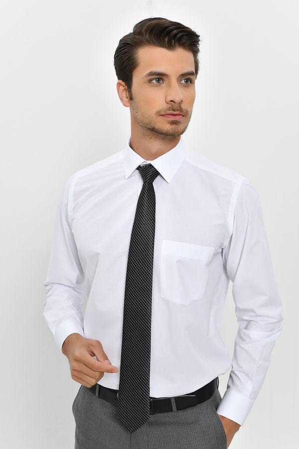 Hatemoğlu - Desenli Klasik Beyaz Gömlek