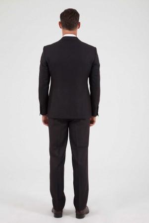 Desenli Klasik Bordo Takım Elbise - Thumbnail