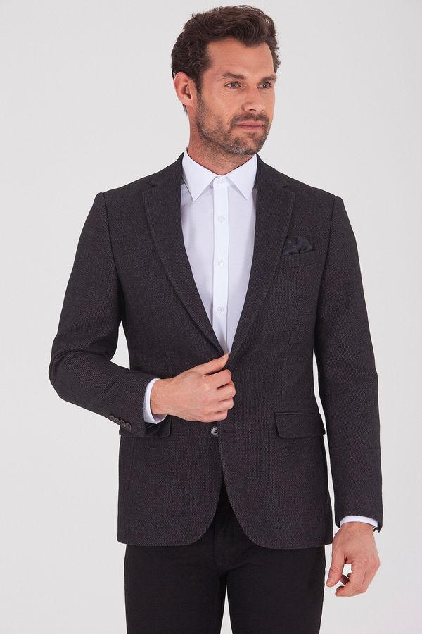 Hatem Saykı - Kahverengi Slim Fit Desenli Ceket