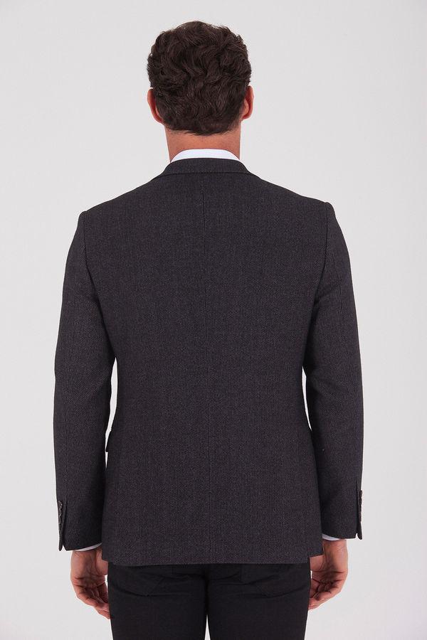 Kahverengi Slim Fit Desenli Ceket
