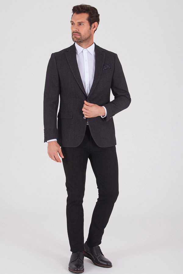 Hatem Saykı - Kahverengi Slim Fit Desenli Ceket (1)