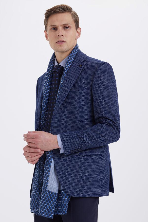 Desenli Klasik Lacivert Ceket