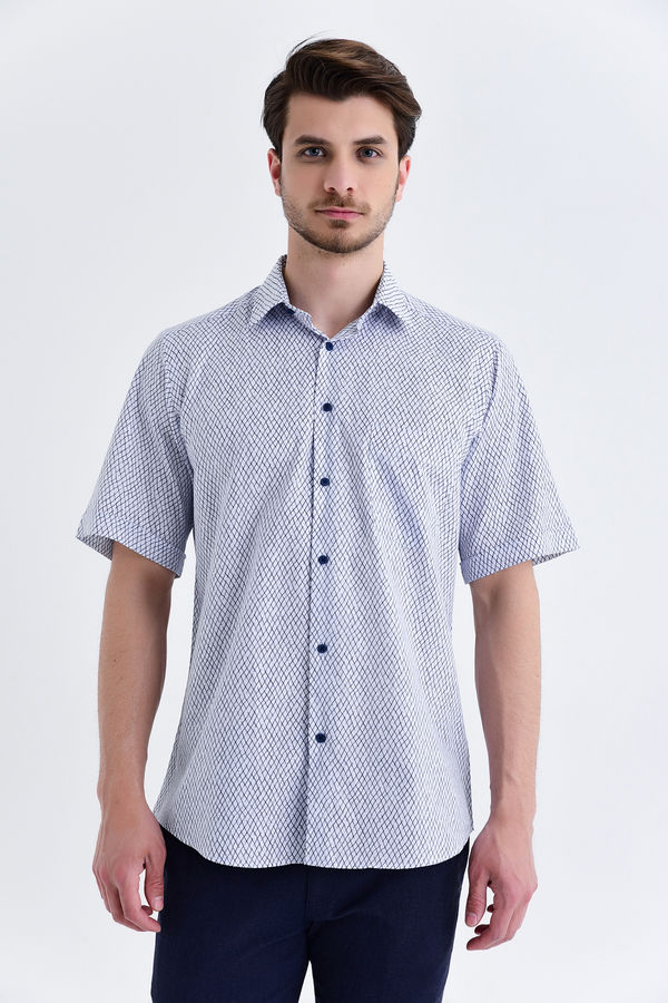 Hatemoğlu - Desenli Klasik Lacivert Gömlek
